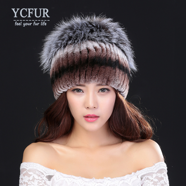 YCFUR Brand Design Real Fur Hats Winter 2016 Handmade Natural Rex Rabbit Fur Caps With Silver Fox Fur Beanies Female Pompom Hat
