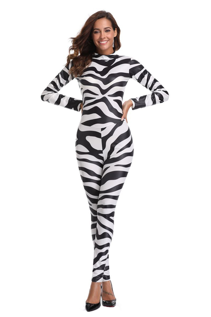 261a74fa0ce Free Shipping Sexy Halloween Zebra Print Jumpsuit Women Catsuit Party Fancy  Dress Playsuit 3S1822