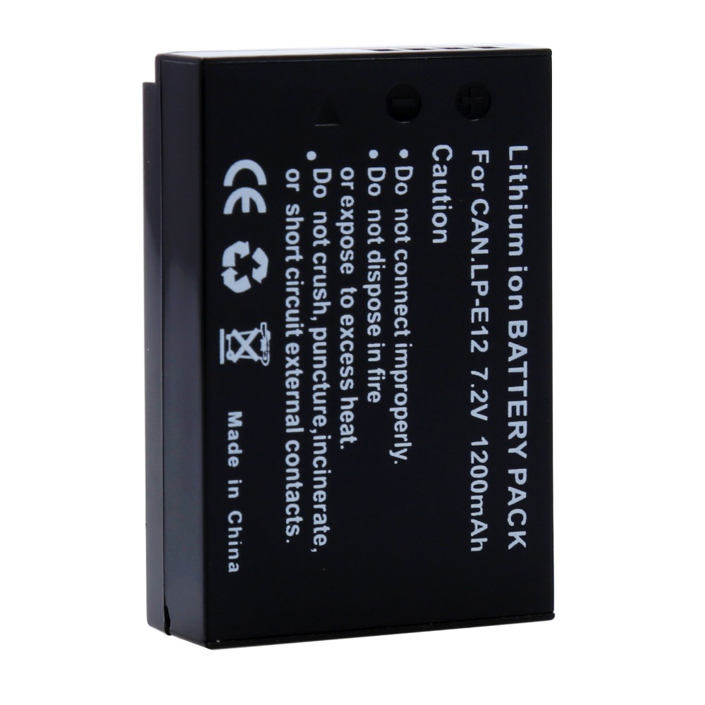 7.2V 1200mAh LP-E12 LPE12 LP E12 Rechargeable <font><b>Battery</b></font> For <font><b>Canon</b></font> M <font><b>100D</b></font> Kiss X7 Rebel SL1 EOS M10 DSLR Camera Wholesales image