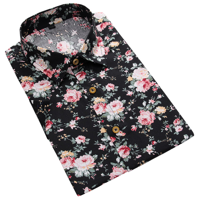 Men Summer Thin Shirts Short Sleeve Floral Shirts New Fashion Men Outwear Casual Slim Shirts Mens Cotton dress shirts 3