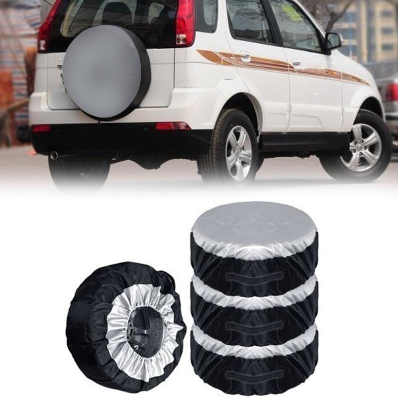 4pcs Spare Tire Cover Case Seasonal Wheel Tire Storage Bag Automobile Tyre Accessories Vehicle Wheel Protector Covers For 13-20 pvc car spare 15 tire tyre cover black yellow white
