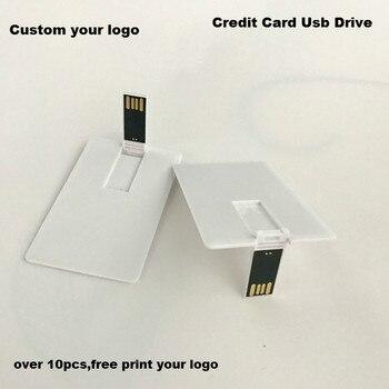 (Over 10 Pcs Free Logo) DIY Logo Credit Card Usb 2.0 Memory U Disk Plasticsuper Thin 4GB 8GB 16Gb 32GB Blank Usb Flash Drives