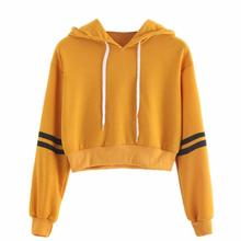 Women's Sweatshirt Jumper Crop Pullover Tops Fashion Sweatshirt Women Varsity-Striped Drawstring Crop Hoodie
