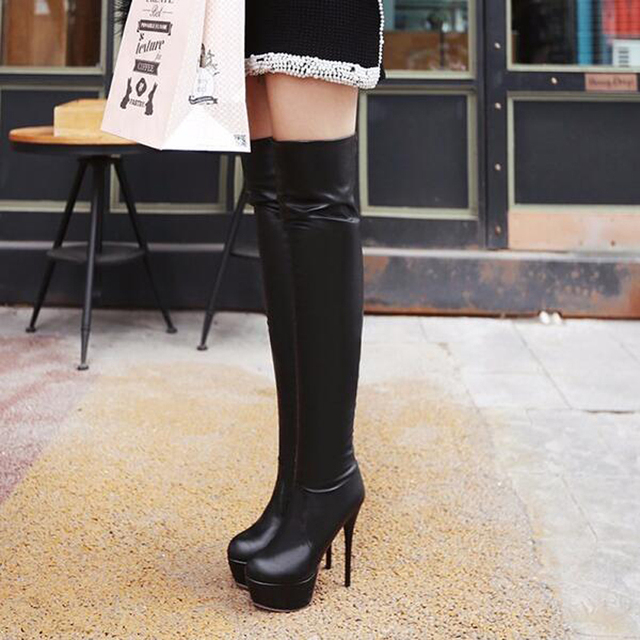 Plus Size 35-46 European American Women Boots Autumn Platform Thin Ultra High Heel Long Boot Shoes Ladies Over Knee-High Boots