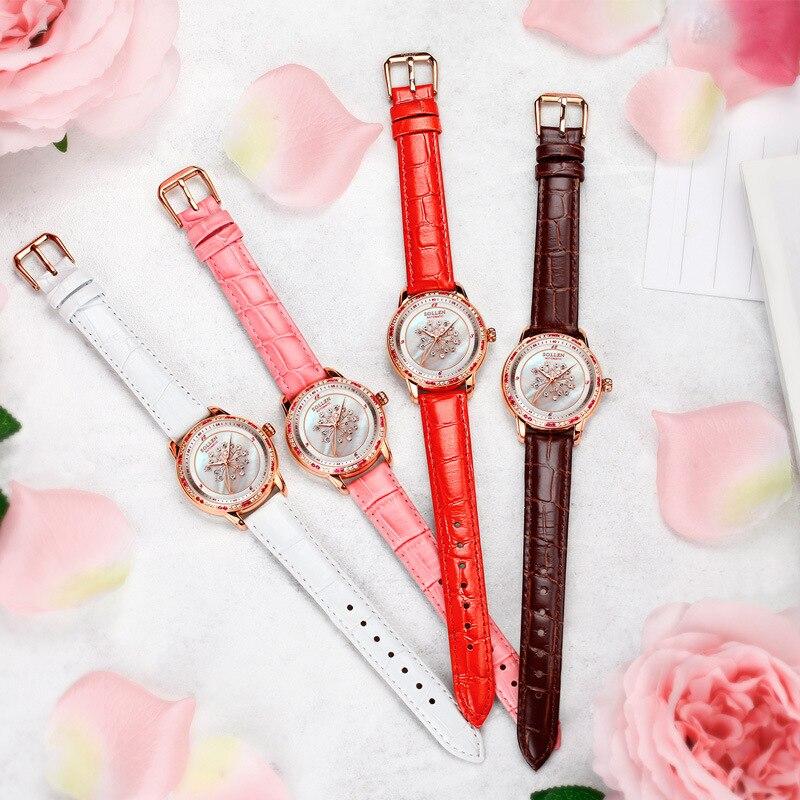 SOLLEN Moda Mulheres Relógios de Cristal de Safira À Prova D' Água Relógio Das Mulheres Senhoras Pulseira de Couro Relógio de Quartzo Top Marca de Luxo Rosa - 6