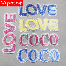 embroidery sequins LOVE patches for jackets,cactus badges jeans,animals cats appliques A120