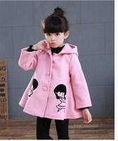 Cartoon Red Pink Hooded Baby Girls Outerwear Children Clothing 3-10Y Baby Grils Woolen KW-1683