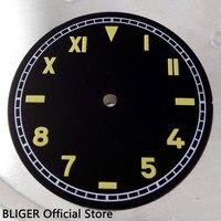 빈티지 37.5mm 블랙 무균 다이얼 옐로우 마크 시계 다이얼 eta 6497 6498 핸드 와인딩 무브먼트 d16