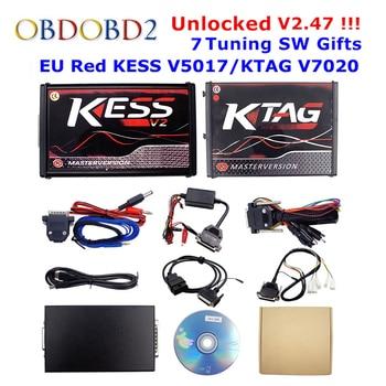 Online V2.53 EU Red Kess V5.017 OBD2 Manager Tuning Kit KTAG V7.020 4 LED Kess V2 5.017 BDM Frame K-TAG 7.020 ECU Programmer