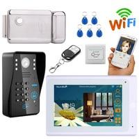 7 Video Doorbell System Video Door Phone Intercom Kits Password keypad, RFID Card +Electronic Door Lock, Wired/Wireless