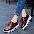2017 New Women Shoes Flat casual shoes black, white, wine red Platform shoes fashion thick bottom lace-up Loafers Shoe