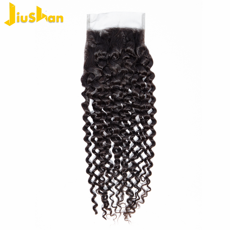 Jiushan Wave-Closure Non-Remy-Hair Curly Deep-Lace 100%Human-Hair Brazilian Free-Middle-Three-Part