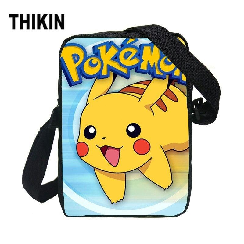 THIKIN Kawaii Pokemon Pikachu Shoulder Bag Kids Cartoon Anime Mini Crossbody Bags Children Boys Girls Daily Handbag For Coin