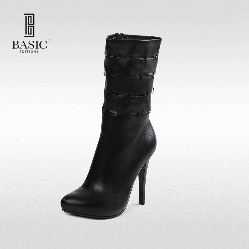 Basic Editions Women Genuine Leather High Heel Winter Short Ankle Boots - 9968-830  BA240 туфли basic editions туфли