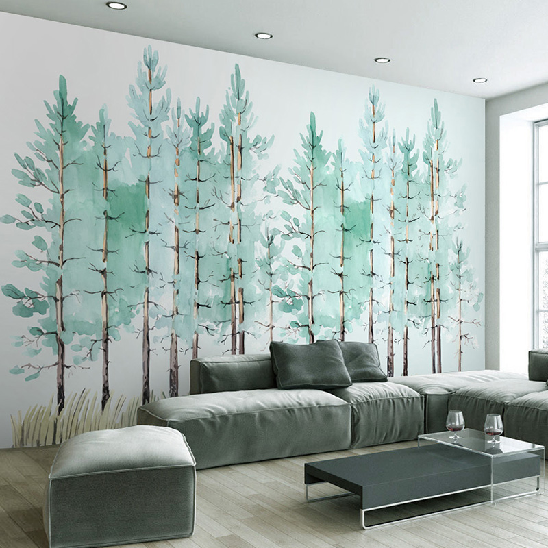 Custom Mural Wallpaper Modern Fashion Hand Painted Green Tree Interior Background Decor Photo Wall Paper Living Room Backdrop 3D