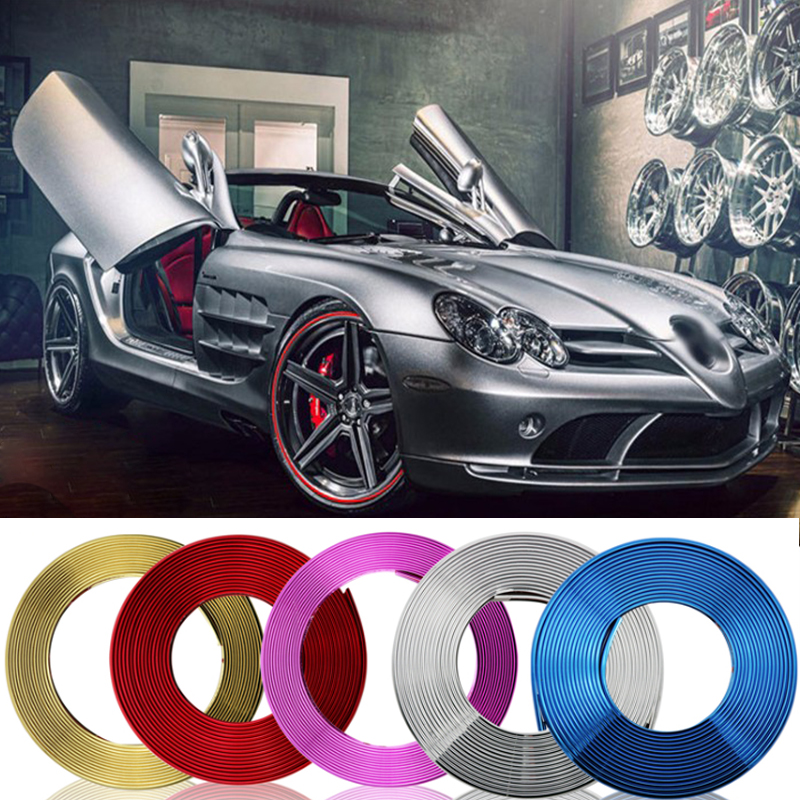 8m Car Chrome Protection Wheel Rim Grille Clips, Light Frame Decoration Collision Strips For For Honda Accord CR-Z Element Fit
