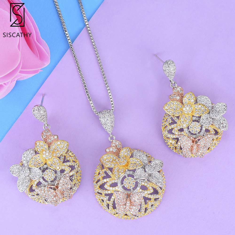 SISCATHY Charms Flower Pendant Long Chain Necklaces Drop Earrings for Women Cubic Zirconia Wedding Naija Bridal Jewelry Sets