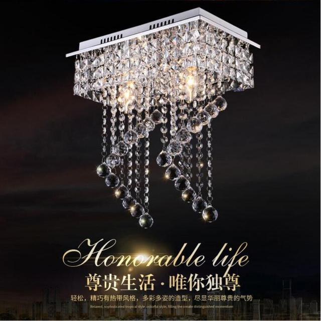 Modern Stainless Steel Crystal Chandelier Led Lamps One Two E14 Lamp Chandeliers High Quality