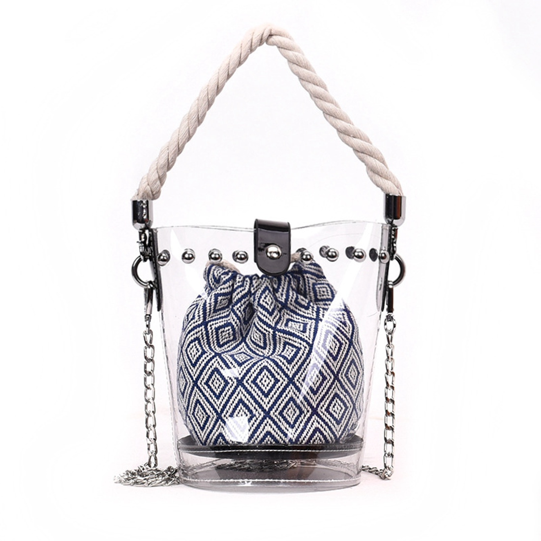 FGGS Blue new fashion PVC chain diagonal handbag fashion transparent hit color diamond rivet hemp rope shoulder diagonal mothe