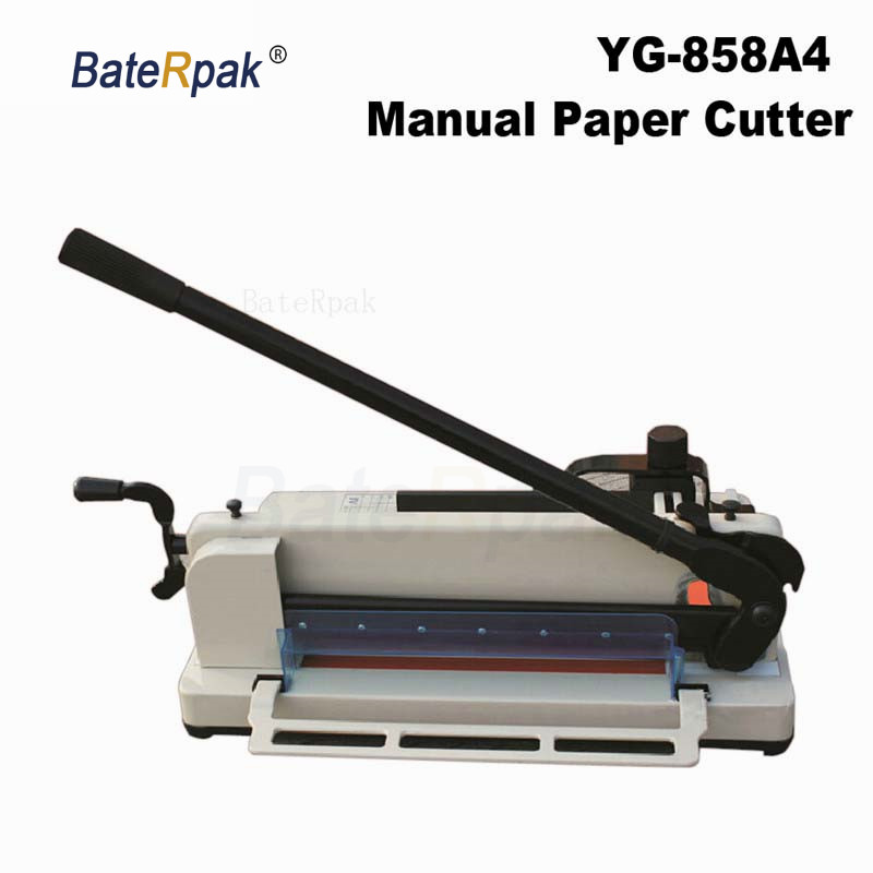 YG 858 BateRpak instrukcja A4 papieru nożyce do blachy, zdjęcia i książki maszyna do cięcia papieru, pulpit papieru książki maszyny do cięcia w Maszyny matrycowe od Dom i ogród na AliExpress - 11.11_Double 11Singles' Day 1