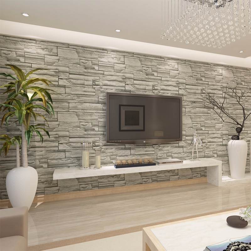 Modern brick 3d wall murals wallpaper for walls 3 d living for Wallpaper one wall in living room