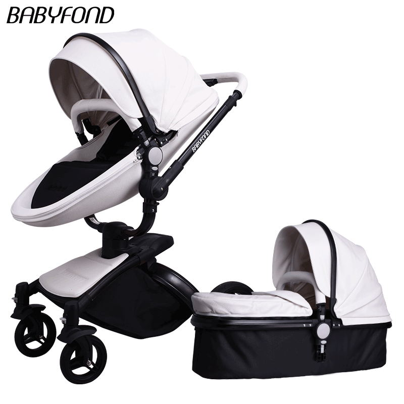 Brand leather 2 in 1 Free-rotating cradle seats baby stroller PU two-way shock absorbers BB car cart trolley 3 in 1 baby pram luxury foofoo shock absorbers baby stroller two way brands 2 in 1 stroller for children car poussette buggy high view prams