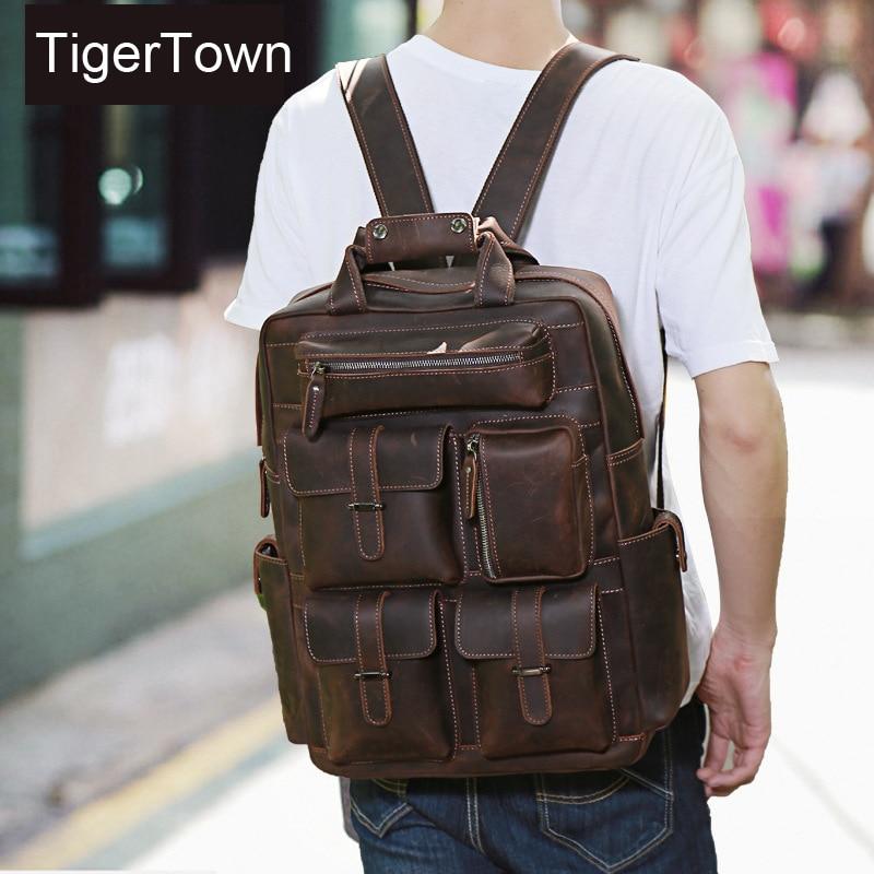 TigerTown Brand New Vintage Genuine Cowhide Real Leather Shoulder Bag Backpacks School backpack Messenger Travel Bag Hiking