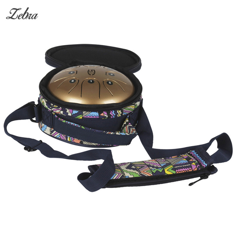 Zebra 5.5 Small Size Steel Tongue Drum 8 Tone Hand Brahma Drum with Case and Mallets for Children Adult Percussion Instruments 14 inch double tone afanti music snare drum sna 109 14