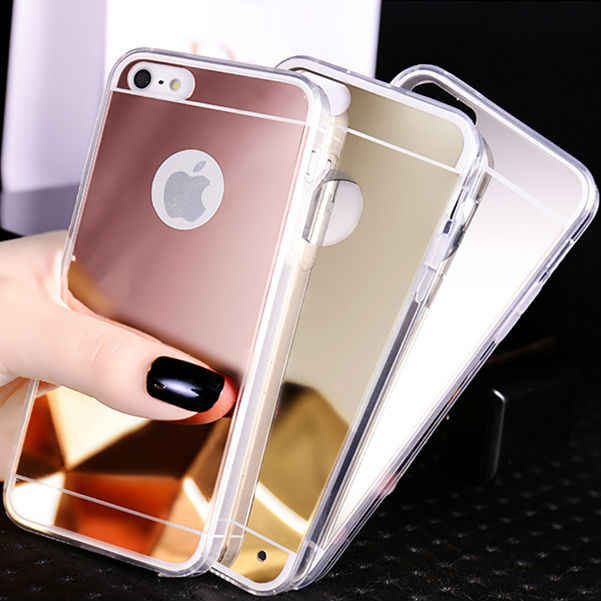 "NFH Luxury Clear Silicon Plastic Soft Mirror TPU Celular For iPhone 5 5S SE Makeup Mirror Back Cover Case On 5S 5SE 4.0"" Gold"