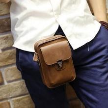 Crazy Horse Genuine Leather Mens Mini Waist Bag Travel Bag Belt Loops Hip Bum Bag Wallet Purses Phone Bag