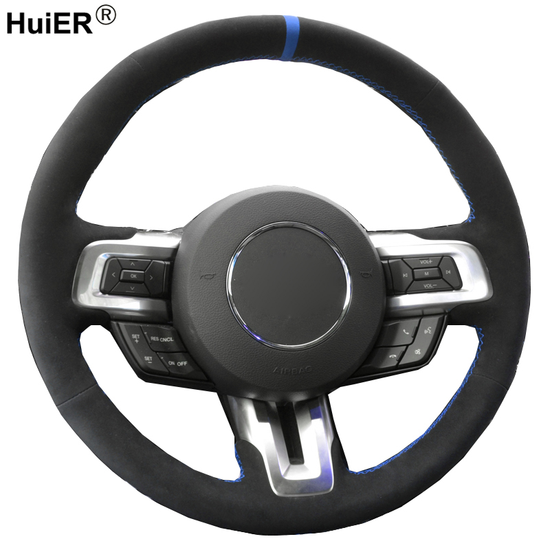 HuiER DIY Hand Sewing Car Steering Wheel Cover Suede Leather For Ford <font><b>Mustang</b></font> <font><b>2015</b></font> 2016 2017 2018 <font><b>2019</b></font>-Now Auto Car Styling image