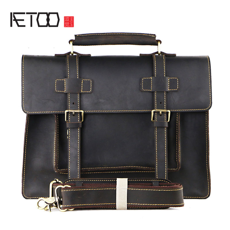 AETOO Europe and the United States selling foreign trade first layer of leather handbag retro leather postman package crazy hors aetoo europe and the united states first layer of oil wax leather men s handbag diagonal cross a4 package multi functional compu