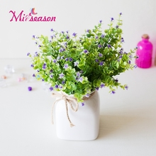 7 Branches Small Eucalyptus Artificial Plants Grass Fake Floral Plastic Silk  Flowers For Home Hotel Wedding Table Decor