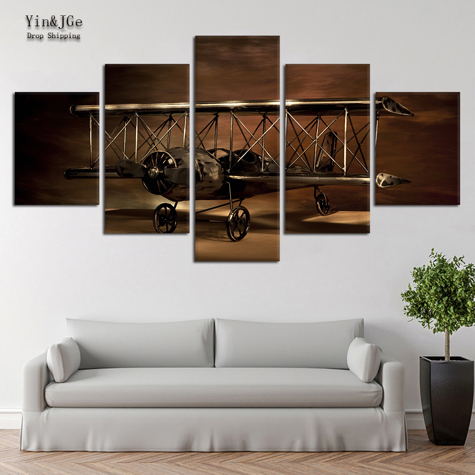 Wall Art Canvas Painting Frame 5 Pieces Airplane Aircraft Model Biplane Retro Poster Picture HD Print For Living Room Decoration