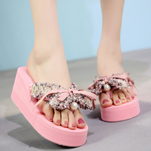 6cm High Heels Women Flip Flops Summer Fahion Bow Outside Sandals Non-slip sole Slippers Pluse Size 35-42