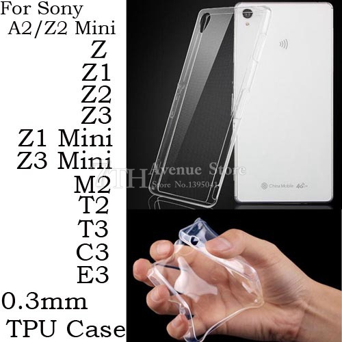 Ultra thin Clear Transparent Soft Silicone TPU Cover Case For Sony Xperia Z Z1 Z3 Z5 Compact Mini Z2 M2 T3 E3 E5 E4g XA