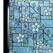 Funlife 90x200cm Stained Glass Window Film Color Flower Pattern Privacy Decorative No Glue Anti-UV Sticker