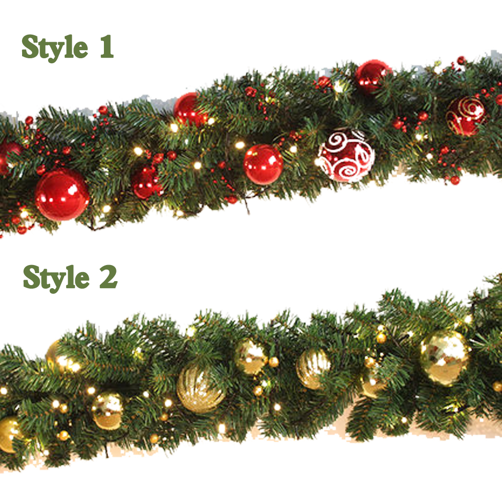 Christmas garland green with red gold bows lights for Red and green christmas decorations