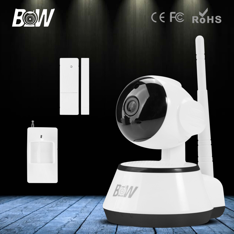 BW HD 720P Wireless IP Camera Wi-Fi IR-Cut Night Vision Camera WiFi Infrared Motion & Door Sensor Security Camera Onvif new safurance 10pcs lot waterproof sunscreen pvc home cctv video surveillance security camera alarm sticker warning decal signs
