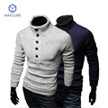 Winter Long Sleeve Warm Pullovers Men's Semi-High Single-breasted Decorative Slim Sweater Young Men Brand-clothing Mens Sweater