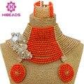Moda nigeriano boda africana de coral perlas joyería conjunto traje indio nupcial choker collar conjunto de perlas de cristal de champán cj681