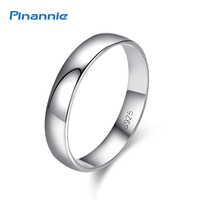Genuine 925 Sterling Silver Plain Engagement Mens Rings Brand Jewelry For Women