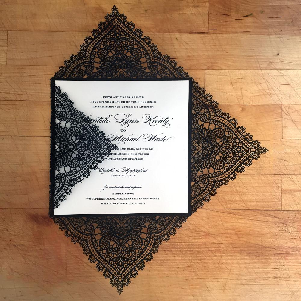 95 36 Invitación De Boda De Encaje Negro Elegante Tarjetas De Invitación Personalizadas Con Tu Frase De Invitación Juego De 50 Piezas In Tarjetas E