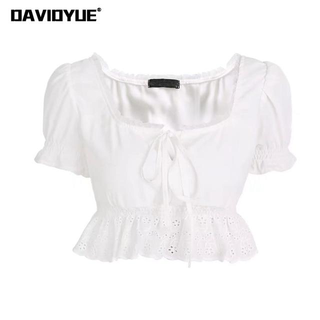 ef8eeafbf82628 Summer women top and blouse Sexy puff sleeve white black Chiffon blouse  ruffles shirt 2018 elegant Square Neck lace top blusa
