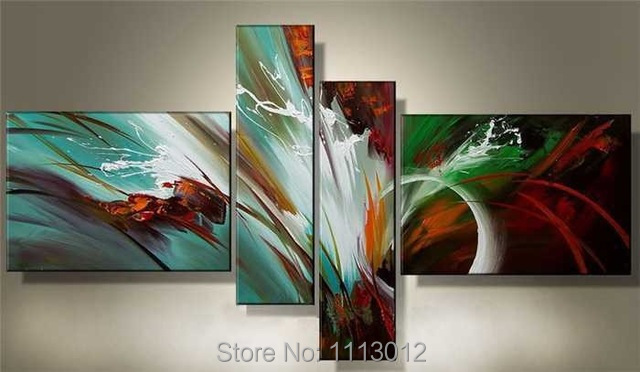 New Hand-painted Modern Line Letter Knife Flower Oil Painting On Canvas 4 Panel Arts Sets Home Wall Decor For Living Room Sale