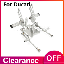 купить For Ducati 848 1098 1098S 1098R 1198 Racing CNC Adjustable Rearsets Rear Set Footpegs Silver по цене 5005.33 рублей