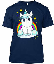 100% Cotton Straight Sleeve Short Printed O-Neck Unicorn With Rainbow And Stars Tee For Men
