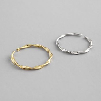 Gold Color Wave Style Simple contort Thin Ring 925 Sterling Silver Open Ring For Women Vintage Anti-Allergy Fashion Jewelry image