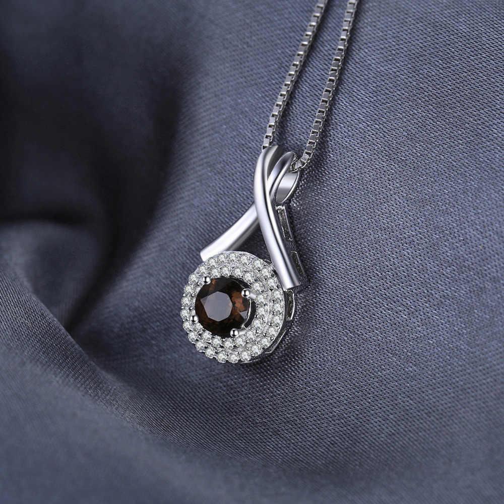 "Jewelrypalace Мода ""x"" Знаки 0.65ct природный дымчатый кварц круглый кулон серебро 925 Изящные ювелирные не включают цепи"