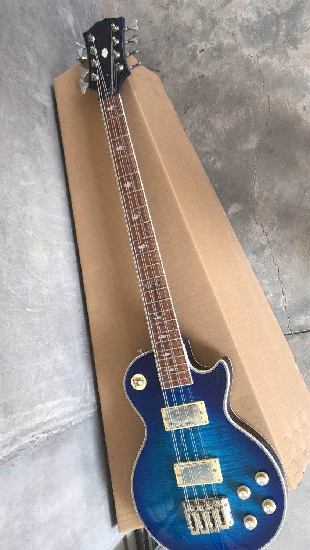 En gros Nouvelle Arrivée LPModel 8 chaîne Frehely électrique basse guitare En Blue Burst 181102